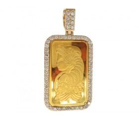 14k 1 Ounce 24Karat Suisse Bar Pendant 4.46ct