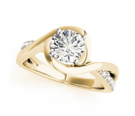 14k Gold Bypass Twisted Diamond Engagement Ring (0.12ct)