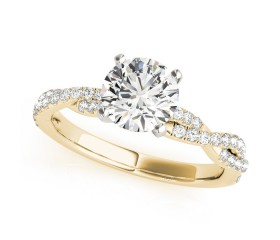 14k Gold Diamond Twisted Bypass Engagement Ring (0.19ct)