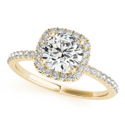14k Gold Square Halo Diamond Engagement Ring (0.22ct)