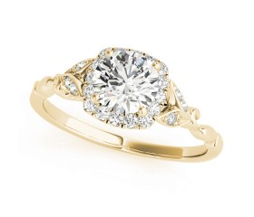 14k Gold Diamond Halo Butterfly Engagement Ring (0.12ct)