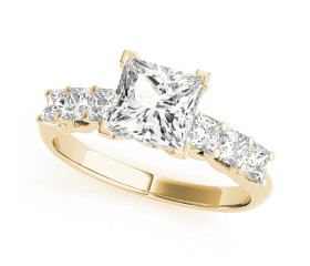 14k Gold Diamond Princess-cut Engagement Ring (0.60ct)