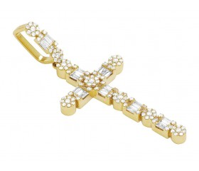 "14k Yellow Gold Real Diamond Flower Cluster Baguette Cross 2"" 1.5CT"