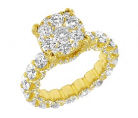 6cts Diamond Eternity Engagement Ring 14k Yellow Gold