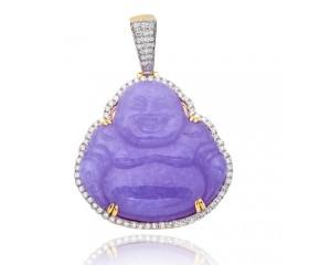 14KY 1.50ctw Diamond Pendant with 62.35CT Lavender Jade Buddha