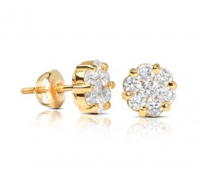 1ct Diamond Flower Earrings 14k $499!