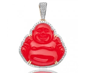 14KY 1.50ctw Diamond Pendant with 67.75CT Red Agate Buddha