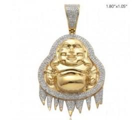 10KY 0.75CTW DRIPPING DIAMOND BUDDHA PENDANT