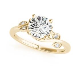 14k Gold Diamond Vine Leaf Engagement Ring (0.09ct)