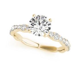 14k Gold Diamond ZigZag Single Row Engagement Ring (0.29ct)