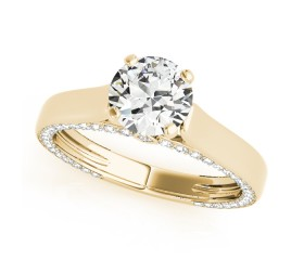 14k Gold Side Diamond Accented Engagement Ring (0.53ct)