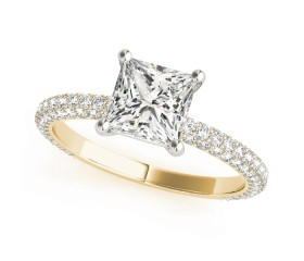 14k Gold Pave Accented Princess Engagement Ring (0.50ct)