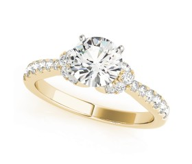 14k Gold Cluster SideStone Diamond Engagement Ring (0.35ct)