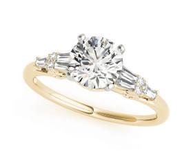 14k Gold Fancy Shape Baguette Accented Diamond Engagement Ring (0.33ct)
