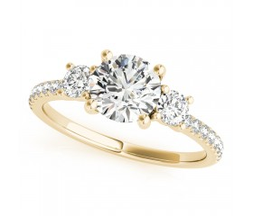14k Gold Diamond Three Stone Engagement Ring (0.40ct)