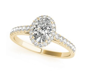 14k Gold Oval Halo Diamond Engagement Ring (0.29ct)