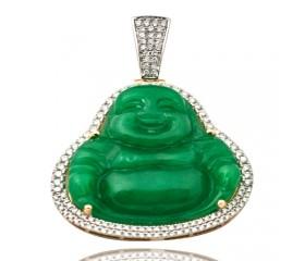 14K Diamond Jade Buddha Pendant (1.00ct - 1.50ct)