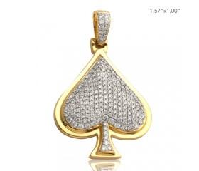 10K DIAMOND ACE OF SPADES PENDANT (1.50CT)