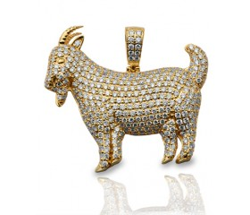 14K Diamond Goat Pendent (1.60ct)
