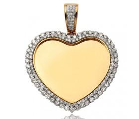10K Diamond Heart Shaped Memory Pendant - 2 Row Border (5.65ct)