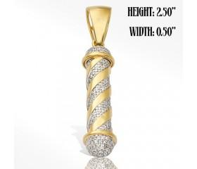10K Diamond Barber Pole Pendant (3.20CT)