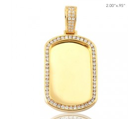 10K DIAMOND DOGTAG PENDANT - MIRROR PLATE - SINGLE ROW CHANNEL SET BORDER (1.35CT)
