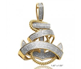 10K DIAMOND ANCHOR WITH ROPE AND RIBBON PENDANT (0.80CT)