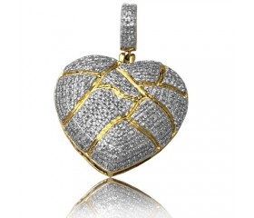 10K DIAMOND BROKEN HEART PENDANT