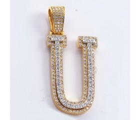 "10K  DIAMOND TWO TONE INITIAL PENDANT - ""U"" (1.42CT)"