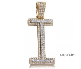 "10K DIAMOND TWO TONE INITIAL PENDANT - ""I"" (2.50CT)"