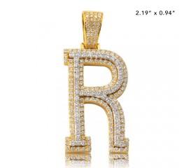 "10K DIAMOND TWO TONE INITIAL PENDANT - ""R"" (3.65CT)"