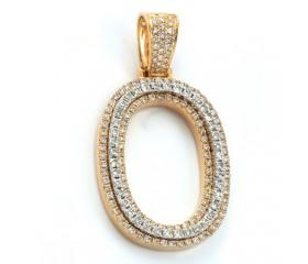 "10K DIAMOND TWO TONE INITIAL PENDANT - ""O"" (1.65CT)"