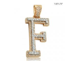 "10K DIAMOND TWO TONE INITIAL PENDANT - ""F"" (1.35CT)"