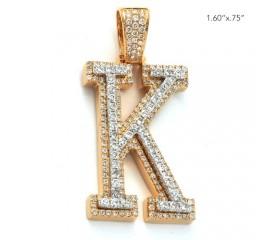 "10K DIAMOND TWO TONE INITIAL PENDANT - ""K"" (1.70CT)"