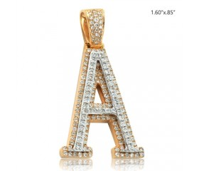 "10K DIAMOND TWO TONE INITIAL PENDANT - ""A"" (1.50CT)"