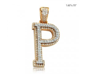 "10K DIAMOND TWO TONE INITIAL PENDANT - ""P"" (1.40CT)"
