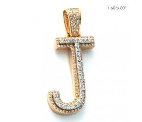 """10K DIAMOND TWO TONE INITIAL PENDANT - """"J"""" (1.15CT)"""