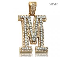 "10K DIAMOND TWO TONE INITIAL PENDANT - ""M"" (2.25CT)"