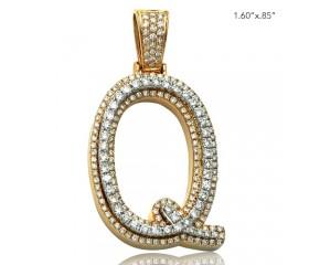 "10K DIAMOND TWO TONE INITIAL PENDANT - ""Q"" (1.60CT)"