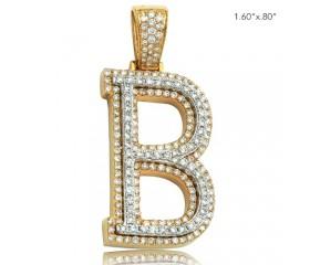 "10K DIAMOND TWO TONE INITIAL PENDANT - ""B"" (1.80CT)"