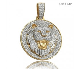 10K DIAMOND MEDALLION WITH LION HEAD (4.50CT)