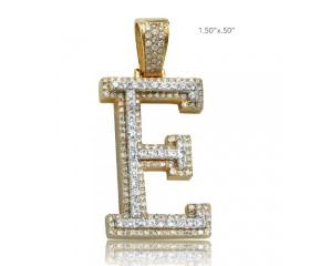 "10K DIAMOND TWO TONE INITIAL PENDANT - ""E"" (1.60CT)"