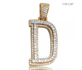 "10K DIAMOND TWO TONE INITIAL PENDANT - ""D"" (1.60CT)"