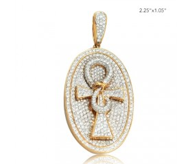 10K DIAMOND OVAL DOGTAG PENDANT WITH ANKH (3.75CT)