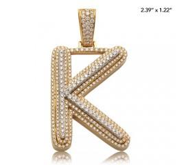 """10K DIAMOND 3-D BUBBLE INITIAL PENDANT - """"K"""" (5.15CT)"""
