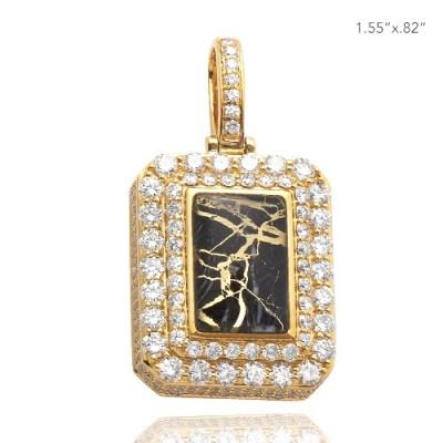 10K DIAMOND 3-D DOG TAG PENDANT - GOLD QUARTZ BLACK (4.00CT)