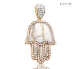 10K DIAMOND AND GOLD QUARTZ HAMZA PENDANT - GOLD QUARTZ WHITE (1.55CT)