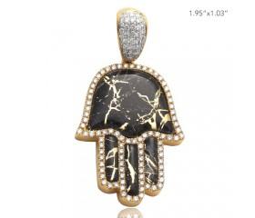 10K DIAMOND AND GOLD QUARTZ HAMZA PENDANT - GOLD QUARTZ BLACK (1.55CT)