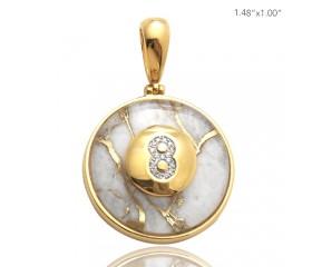 10K DIAMOND AND GOLD QUARTZ 8-BALL PENDANT - GOLD QUARTZ WHITE (0.50CT)