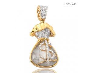10K DIAMOND AND GOLD QUARTZ MONEY BAG PENDANT - GOLD QUARTZ WHITE (0.30CT)
